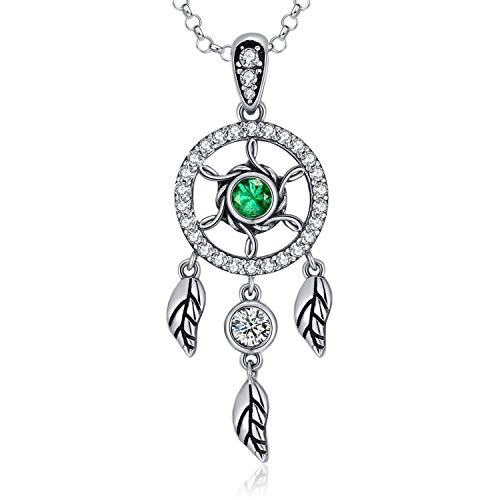 (MEGACHIC Women Dreamcatcher Emerald Color Zircon Pendant Necklace Crystals from Swarovski)