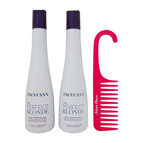 Bundle-3 Items : PRAVANA THE PERFECT BLONDE Purple Toning Shampoo and Conditioner DUO (10.1Oz each ) & Salon