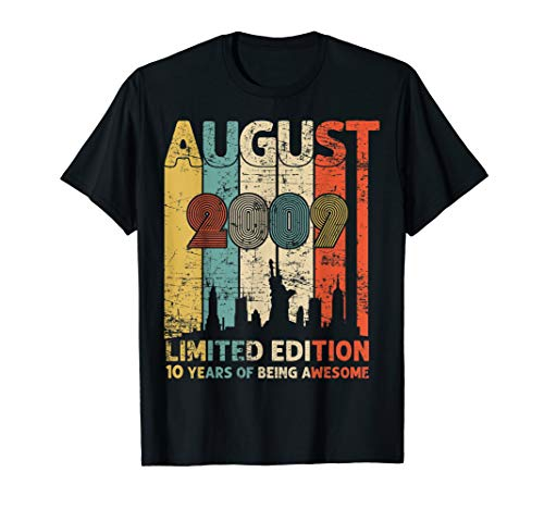 Vintage August 2009 Shirt 10 Year Old Tee 2009 Birthday Gift T-Shirt (Birthday Cards For 10 Years Old Girl)