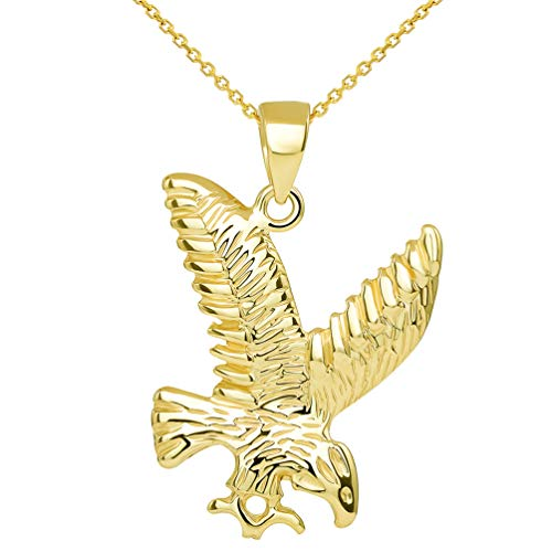 14k Solid Yellow Gold Soaring American Eagle Animal Pendant with Chain Necklace, 18