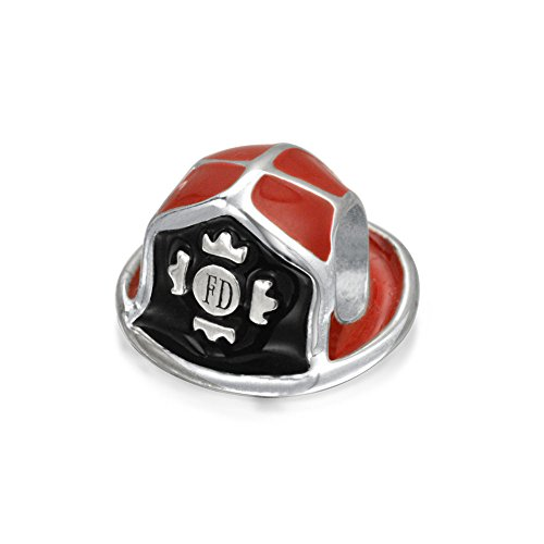 Bling Jewelry Red Enamel Fire Department Fireman Hat Bead Fits Pandora Silver (Silver Enamel Shield Charm)