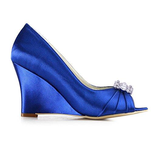 Elegantpark EP2009AX Mujer Fiesta Cuña AW Desmontable Flores Rhinestone Zapatos Clips Satén Zapatos De Boda AX Azul