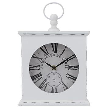 Tolle Paris Uhr Tischuhr Kaminuhr Holz weiß shabby chic Landhaus ...