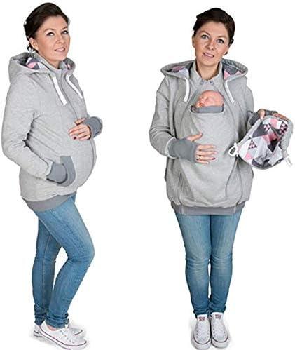 MY0629 Mama Damen Kapuzenpullover Stillzeit Top Zweilagiges,Tragejacke f/ür Mama und Baby Damen Langarm Umstandsjacke Warm Tragepullover mit Babyeinsatz