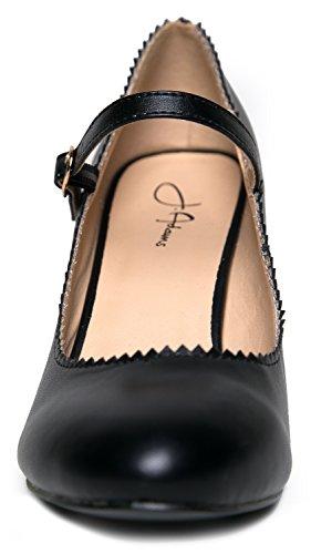 J. Tacchi Adams Mary Jane Kitten - Scarpa Vintage A Punta Smussata Con Cinturino Regolabile - Miele Nero Pu