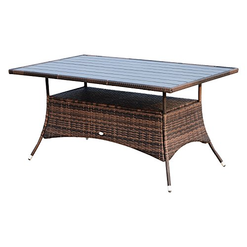 """Outsunny 60"""" Outdoor Slat Top Rattan Dining Table - (Rectangular Wicker Table)"""