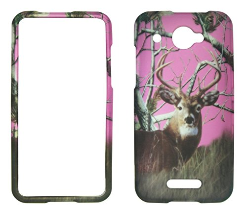 (2D Pink Camo Buck Deer Pine HTC DROID DNA 4G LTE X920E Verizon Case Cover Snap-on Hard Shell Protector Cover Phone Hard Case Case Cover Rubberized Frosted Matte Surface Hard Shells)