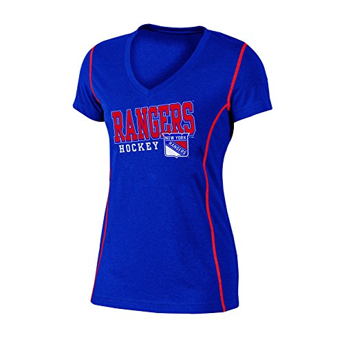 (Knights Apparel NHL New York Rangers Women's Poly V-Neck Tee, Large, Blue Heather)