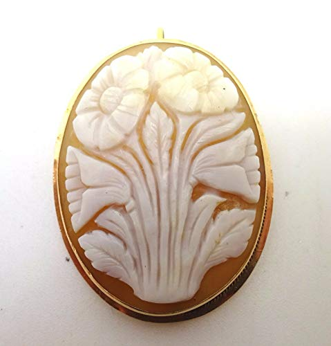 Oval 14k Gold Genuine Shell Cameo Pin/Pendant w/Carved Flowers (#J3685)