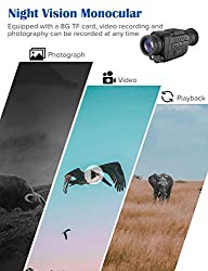 BOBLOV HD Digital Night Vision Monocular 5x35 Infrared IR Night Vison Camera Photograph/ 720P Video/Playback Function with 8G TF Card for Hunting and Scouting Game