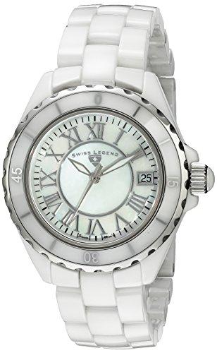 Swiss Legend Women's 20050-WWSR ''Karamica Collection'' Stainless Steel Watch with White Ceramic Bracelet by Swiss Legend
