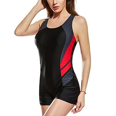 Uhnice Womens Boyleg One Piece Swimsuit Racing Training Sports Athletic Swimwear