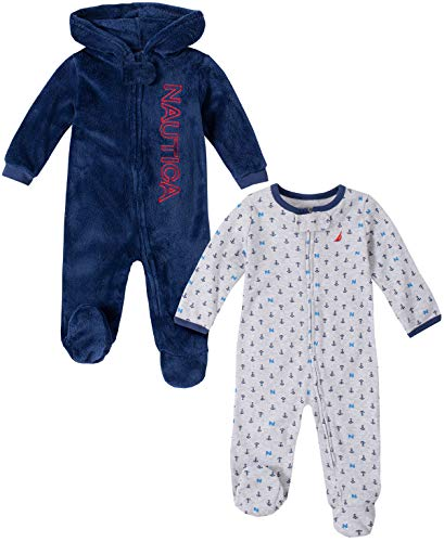 Nautica Baby Boys 2 Pieces Pack Sleeper, Gray/Navy, 0-3 Months (Nautica Newborn Boy Clothes)