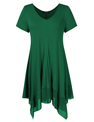AMZ PLUS Womens Plus Size Short Sleeve Spliced Asymmetrical Tunic Top Dark Green 4XL
