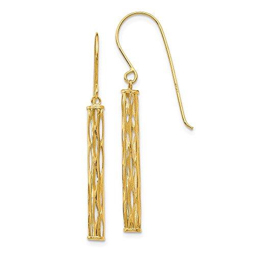 14K Dangle Mesh Tube Earrings ()