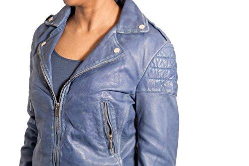 Femmes Bleuet Bleu rŽtro de motard Vrai cuir Veste Mince court