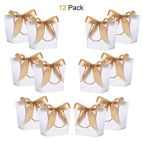 Gift Bags with Handles- WantGor 8.6x6.3x2.7inch Paper Party Favor Bag Bulk with Bow Ribbon for Birthday Wedding/Bridesmaid Celebration Present Classrooms (White, Small- 12 Pack) -