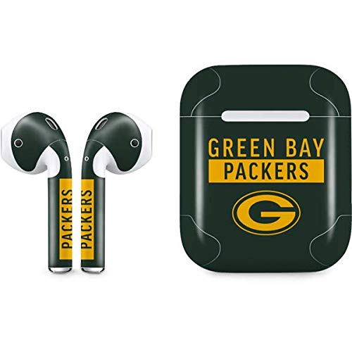 Skinit Green Bay Packers Green Performance Series Apple AirPods Skin - Officially Licensed NFL Audio Sticker - Thin, Case Decal Protective Wrap for Apple AirPods Gen 1