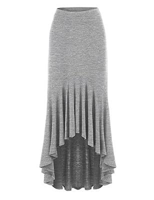 MBJ Womens Asymmetrical High Low Ruffle Hem Skirt - Made in USA