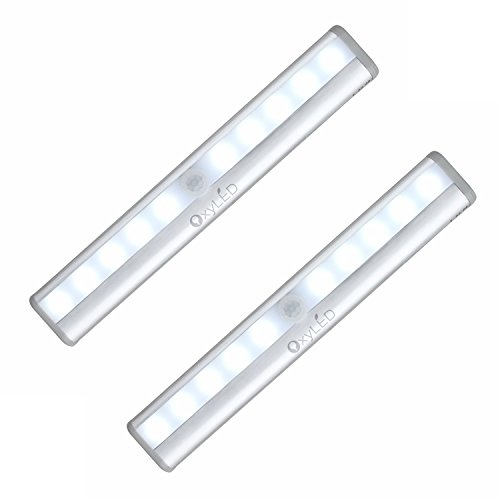 [2 PACK]OxyLED T-02 DIY Stick-on Anywhere Portable 10-LED Wireless Motion Sensing Closet Cabinet LED Night Light / Stairs Light / Step Light Bar with Magnetic Strip (Battery Operated)-Silver