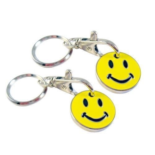 2 x SMILEY TROLLEY COIN £1 COIN SIZE 22.3MM X 3MM