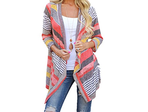 egular Stripe Shawl Kimono Cardigan Tops Cover Up Blouse (XL, Pink) (Black Cocktail Bunny)