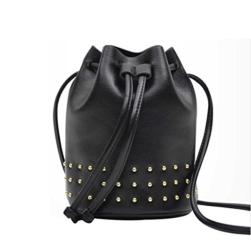 Le Donne Rivetti Messenger Bag Moda Borsa Secchiello Black