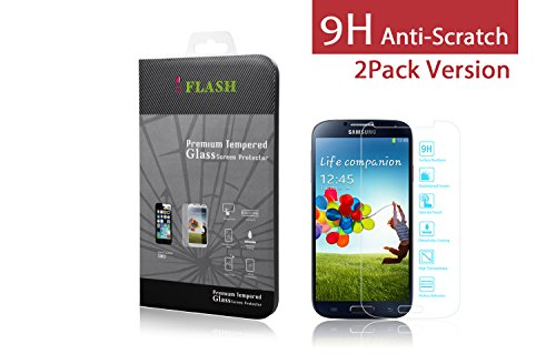 iFlash® 2 Pack of Premium Tempered Glass Screen Protector For Samsung Galaxy S4 / S IV / i9500- Protect Your Screen from Scratches and Bubble Free - Maximize Your Resale Value - 99.99% Clarity and Touchscreen Accuracy (2Pack, Retail Package)