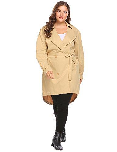 IN'VOLAND Plus Size Women's Trench Coat Long Jacket Windbreaker Overcoats (16W, Khaki)