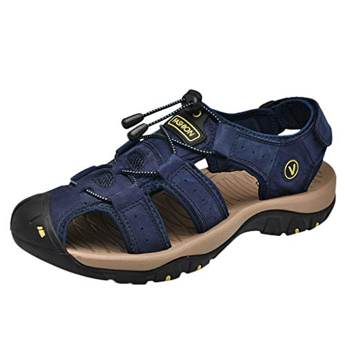 Outdoor Mens Leather Flats Casual Beach Athletic Shoes Breathable Sport Sandals -