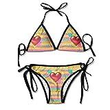 FDJKHY Personalized Women Bikini-Love Heart Swimsuit Beachwear