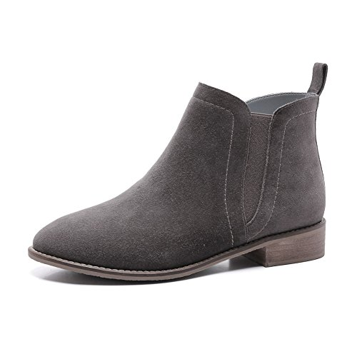 Boots Heels Allhqfashion Non Sole with Blend Low Gray Women's Frosted Slipping Materials qCYxfBS
