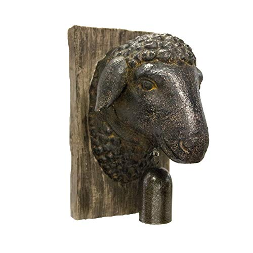 Sagebrook Home 11141 Sheep Head W/Bell Wall Plaque, Rust Polyresin, 5.75 x 4.5 x 7.5 Inches ()