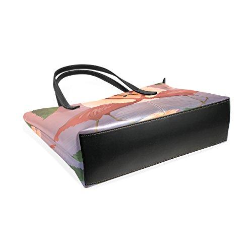 5272c23af53a5 ... COOSUN Romantic Red Flamingos und der Mond PU Leder Schultertasche  Handtasche und Handtaschen Tasche für Frauen ...