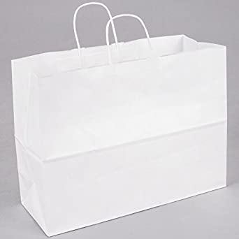 Natural White 250 Bags 16 x 6 x 12 1//2 ABC Kraft Shopping Bag,Great for Shopping Parties and More