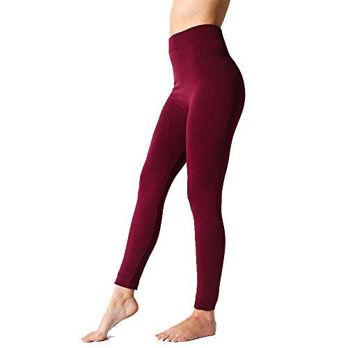 The Legging Studio Aurora Plain Fleece Lined Leggings, Small/Medium, Wine (Aurora Fleece)