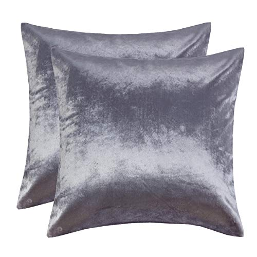 (GIGIZAZA Silver Grey Velvet Decorative Throw Pillow Covers for Sofa Bed 2 Pack Soft Cushion Cover (Silver Grey, 18 x 18- Set of 2))