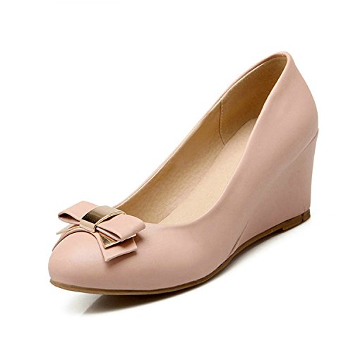 Heels Leather Shoes Pu Round High Wedges Size Tie 34 On 42 Pink Solid Pink Toe Women Pump Bow Jerald Soft Slip Logan Lady 8PvTnEwt