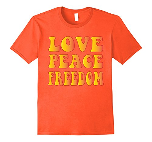 [Mens LOVE PEACE FREEDOM T-Shirt 60s 70s Tie Die Hippie Shirt XL Orange] (60s Fashion Mens)