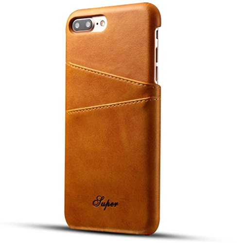Case Leather Travel Apple (For iPhone 7 Case, HP95(TM) Card Cover Slots Leather Back Cover Case For Apple iPhone 7 4.7Inch (Yellow))