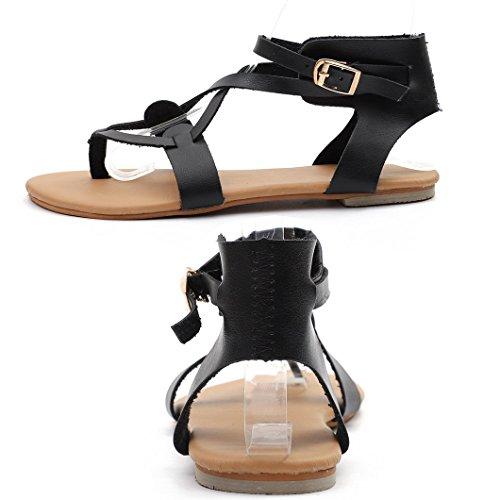 Flat Evedaily Strap Sandals Black Shoes Buckle Roman Sandals Womens Heel Beach Summer Cross Walking FFTqaHw