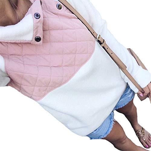 Camicetta Primavera Mescara Caldo Top Inverno Maniche Bianco Felpa Pullover Buttone Donna Capptto Con Giacca Lungo Patchwork Tenere 4q4SPw6