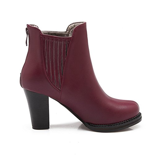 Girls AdeeSu Imitated Solid Business Claret Boots Toe Leather Round drwraq4Ux
