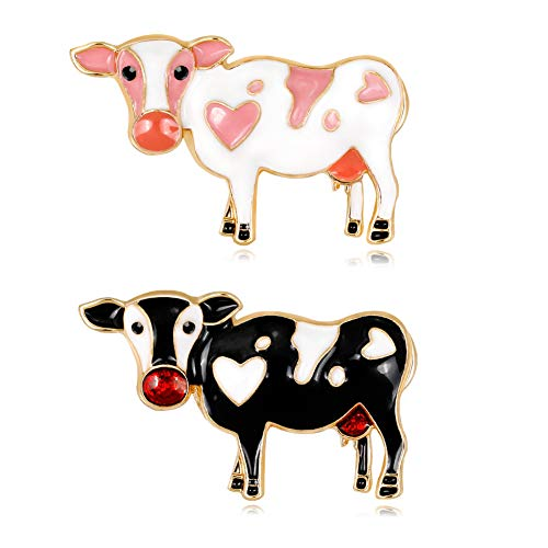 2pcs Charming Milk Cow Brooch Pins Alloy Enamel Dairy Cow Breastpin Lapel Pin Set Cloth Decoration for Women Teen Girl Kids