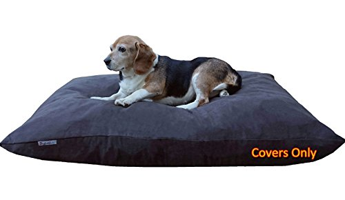 Do It Yourself DIY Pet Bed Pillow Duvet Suede Cover + Waterproof Internal case for Dog/Cat at Large 48''X29'' Espresso Color - Covers only by Dogbed4less