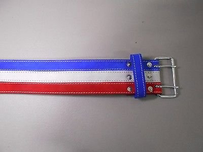 Ader Leather Power Weight Lifting Belt- 4'' Red/ White/ Blue (Small)