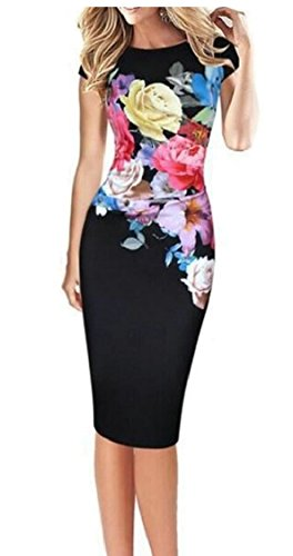 cb82dcc7a70a4 Jaycargogo Women Floral Sleeveless Cocktail Party Bodycon Dresses Black