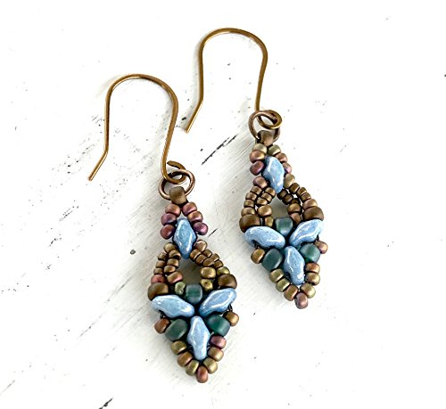 Unhappy Dainty Dangle Earrings - Antique Bronze Handcrafted Bead Woven - Beadwork With Seed beads and Super Duos - Beaded Drops