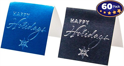 Hallmark Blank Self-Stick Gift Tag 60 Pack: Happy Holidays. 40 Silver & 20 Blue Tags. Stylish, Reflective Foil Design. Great for Christmas & Hanukkah Presents. Easily Folds in Half: 2.25