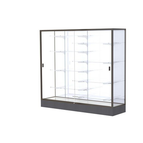 Aluminum Waddell Frame (Waddell Manufacturing Company Waddell 2606-WB-BZ Colossus 72 x 66 x 20 in. Aluminum Frame Floor Display Case with Black Laminate Base44; White Back - Dark Bronze)